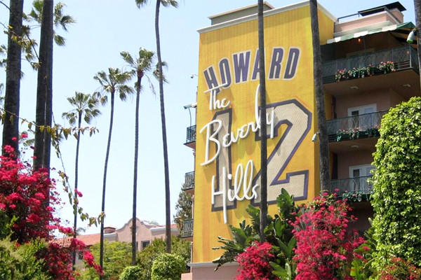 A photo of the Beverly Hills Hotel mocked up to appear as part of the Lakers' campaign to bring Dwight Howard back next season.