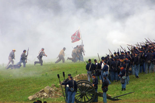 At the Civil War reenactment at Gettysburg, Pa. in 2013, on the 140th anniversary of the great battle.