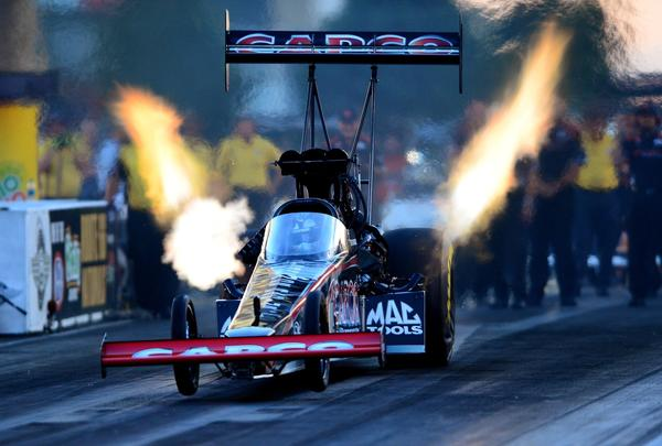 NHRA top fuel dragster driver Steve Torrence during qualifying for the Route 66 Nationals at Route 66 Raceway.