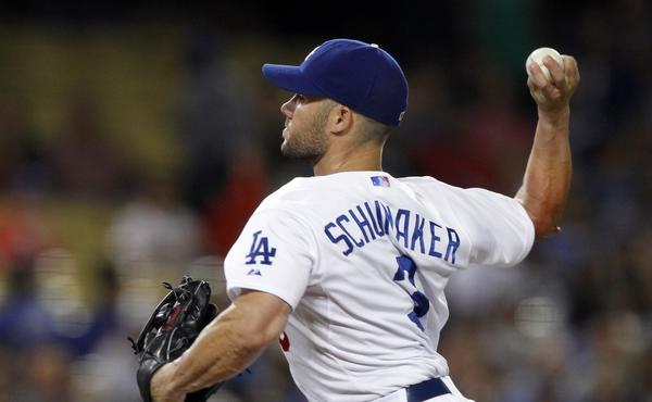 Dodgers utility player Skip Schumaker made an appearance on the mound in the ninth inning of the Dodgers' 16-1 loss to the Philadelphia Phillies on Friday.