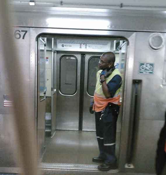 """A CTA worker on the Blue Line train that was stopped this morning in West Town after the operator hear a """"loud noise."""""""