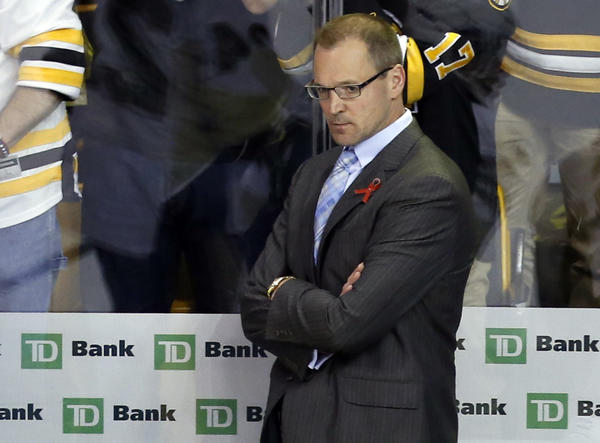 Pittsburgh Penguins head coach Dan Bylsma reacts to being swept by the Boston Bruins in Game 4 of the Eastern Conference finals of the 2013 Stanley Cup Playoffs.