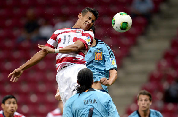 American Jose Villarreal tries to score against Spain during the FIFA Under 20 World Cup earlier this month in Turkey.