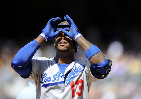 Dodgers shortstop Hanley Ramirez after a solo home run during the ninth inning against the Padres.