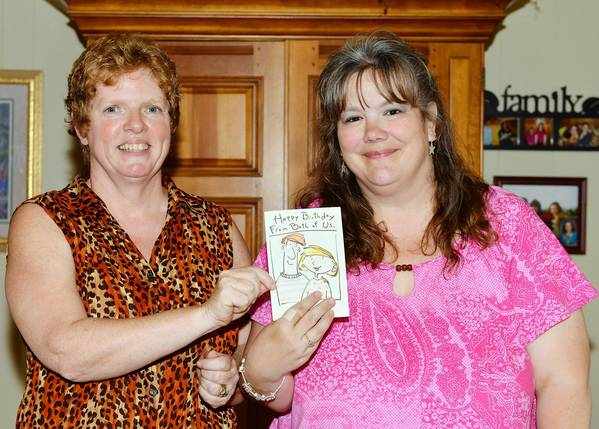On The Cheap cheapsters Julie Sanders (left) and Jodi Godown Hilt have been sending the same birthday card to each other for years.