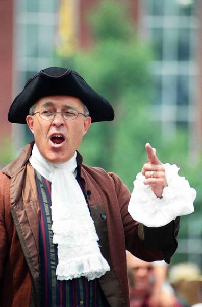Easton Town Crier David Rose reads the Declaration of Independence at Centre Square in Easton at Heritage Day.