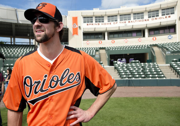 Michael Phelps took batting practice with the Orioles in February.