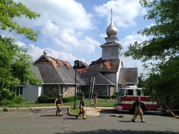 Fire severely damaged St. Nicholas Byzantine Catholic Church in Danbury on Sunday afternoon.