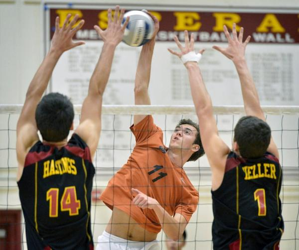 ARCHIVE PHOTO: South Pasadena High's Robert Adamson, center, is the 2013 All-Area Boys' Volleyball Player of the Year.