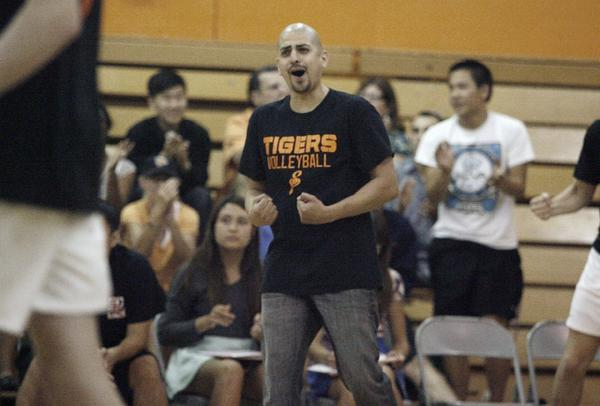 ARCHIVE PHOTO: South Pasadena High Coach Ben Diaz is the All-Area Boys' Volleyball Coach of the Year after leading the Tigers to their first CIF championship in his second year with the squad.