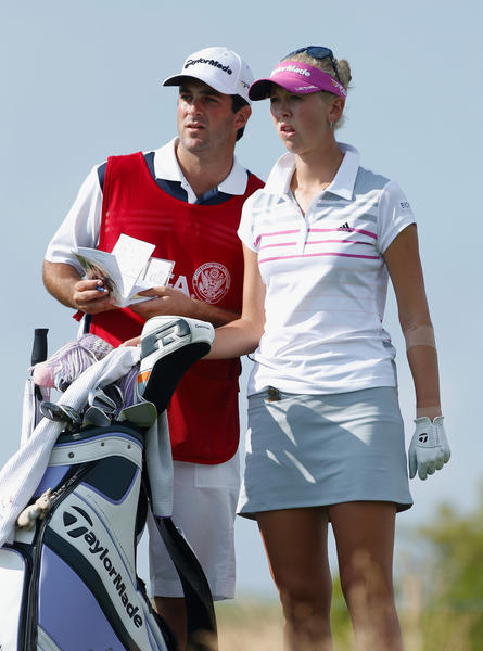 Jessica Korda waits on the 15th tee with her caddie/boyfriend Johnny DelPrete during the third round of the 2013 U.S. Women's Open at Sebonack Golf Club.