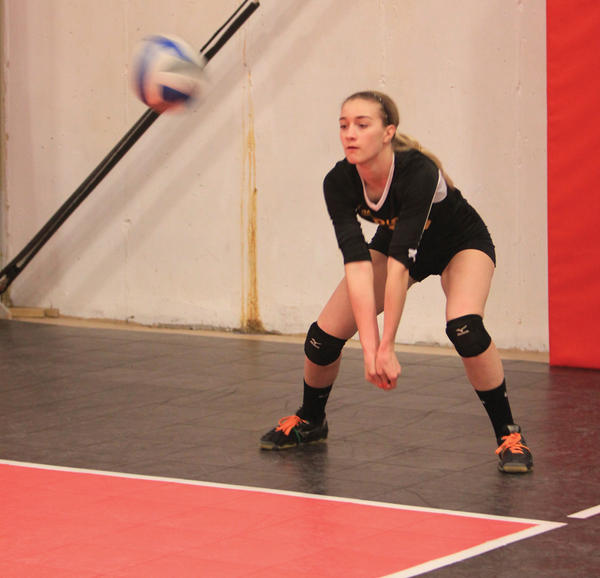 Hollee Winders, a Smithsburg High School sophomore, makes a pass while playing for the MVSA 15U Riot club team earlier this year. Winders will travel with the Riot to play in the USA Girls National Volleyball Championships in Dallas.
