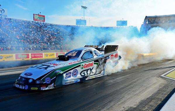 NHRA funny car driver John Force during qualifying for the Route 66 Nationals at Route 66 Raceway.