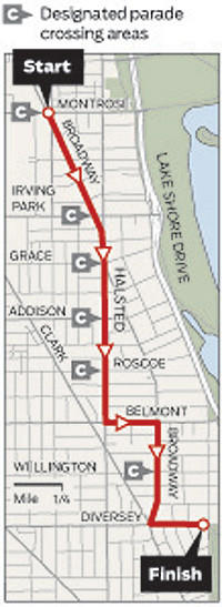 The route for the Pride Parade on June 30, 2013.