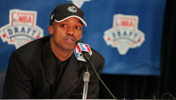 Maryland guard Steve Francis answers questions at a news conference after being drafted by the Vancouver Grizzlies.