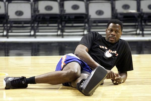 Patrick Ewing of the New York Knicks wore a protective boot on his left foot during his team's workout 17 June, 1999, at the Alamodome in San Antonio, TX. Ewing missed the entire NBA Finals because of a partial tear of his left achilles tendon.
