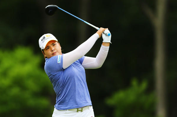 Inbee Park tees off at the fifth hole Sunday in the final round of the U.S. Women's Open.