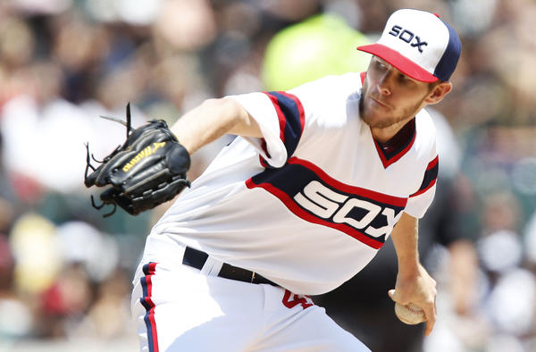 White Sox starting pitcher Chris Sale pitches in the first inning.