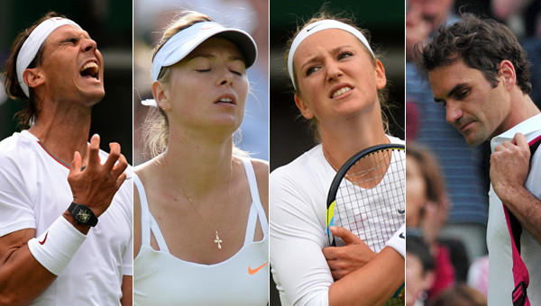Many of the biggest names in tennis, including (from left to right) Rafael Nadal, Maria Sharapova, Victoria Azarenka and Roger Federer, will not be taking part in the round of 16 at Wimbledon on Monday.