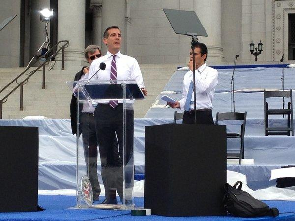 On Sunday, Los Angeles Mayor-elect Eric Garcetti practices the speech he will deliver from the steps of City Hall.