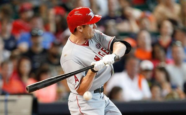 Angels center fielder Peter Bourjos is hit with a pitch during the fourth inning of the team's 7-2 victory over the Houston Astros on Saturday.
