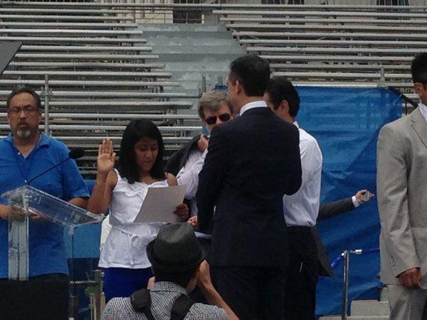 Kenia Castillo, an eighth-grader at Luther Burbank Magnet Middle School, practices the oath she will administer to Mayor-elect Eric Garcetti.