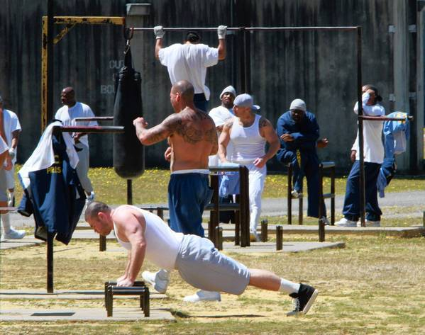 Inmate exercise in the general population yard at Pelican Bay State Prison.