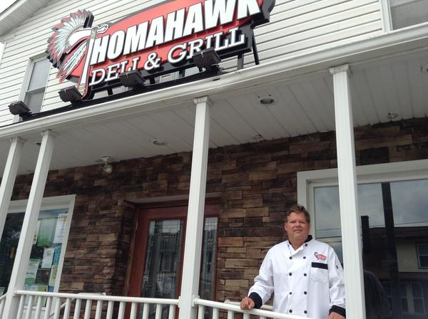 Owner Adam Thomas stands outside the Thomahawk Deli & Grill, a family-friendly restaurant in Davidsville.