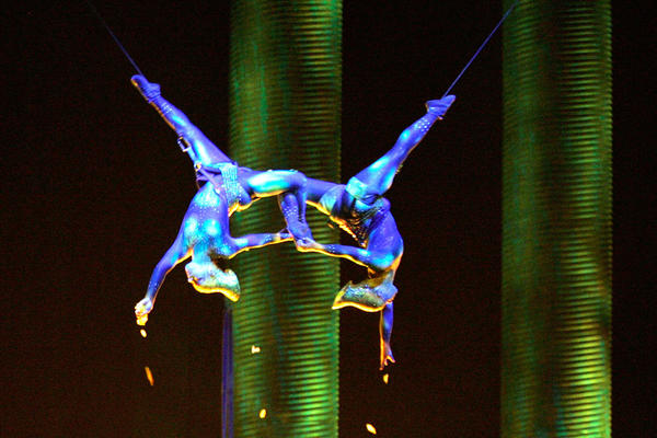 "Sarah Guyard-Guillot, left, and Sami Tiaumassi during a performance of Cirque du Soleil's ""Ka."" Guyard-Guillot suffered a fatal fall during a show Saturday."