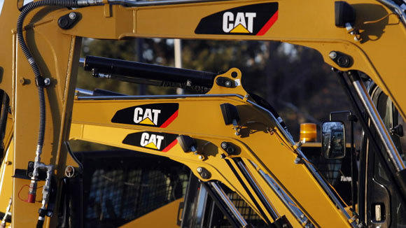 Caterpillar heavy equipment is seen at a North Reading, Mass., dealer.