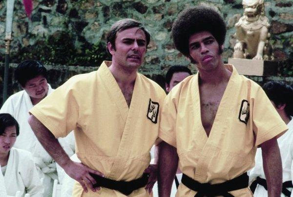 "Jim Kelly, right, with John Saxon in ""Enter the Dragon."""