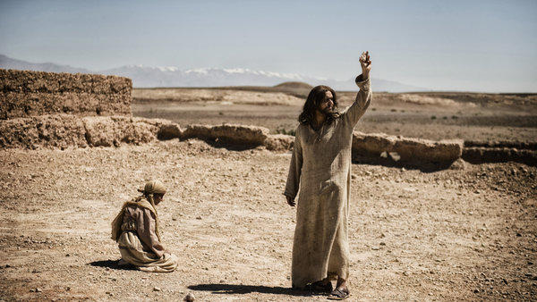 "A woman is about to be stoned and Jesus (Diogo Morgado) confronts the Pharisees in a scene from ""The Bible."""