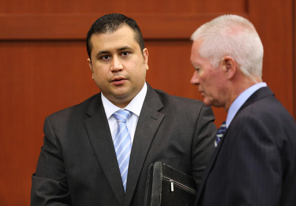 George Zimmerman is escorted by court personnel during a recess on the 16th day of his trial in Seminole circuit court, in Sanford, Fla., Monday, July 1, 2013. Zimmerman is accused in the fatal shooting of Trayvon Martin. (Joe Burbank/Orlando Sentinel/POOL) newsgate CCI B583027756Z.1