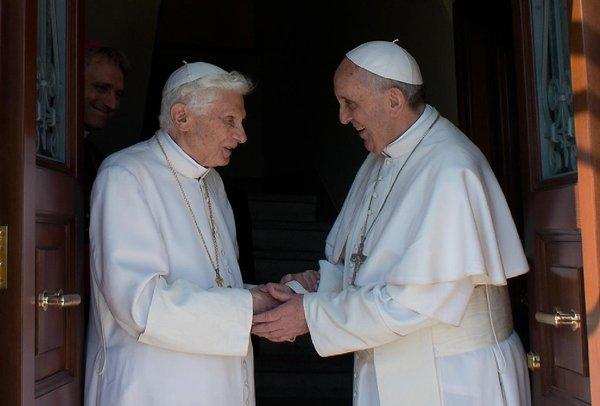 Pope emeritus Benedict XVI, left, with Pope Francis at the Vatican on May 2.