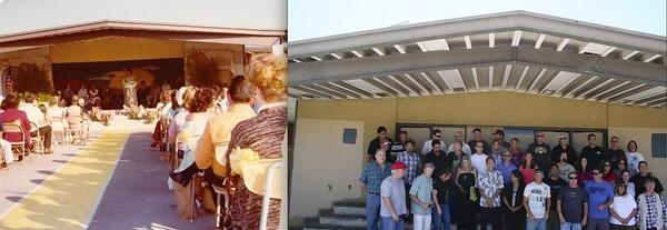 Left: The outdoor Lamb Elementary stage in the early 1970s. Right: The Lamb stage last week when students gathered for a reunion.