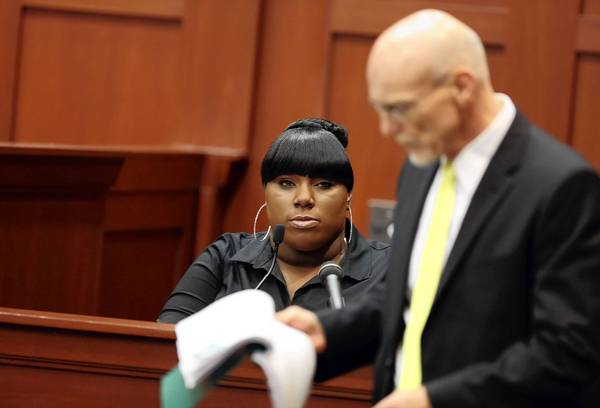 Witness Rachel Jeantel stares at defense attorney Don West as she gives her testimony during George Zimmerman's trial in Seminole circuit court in Sanford, Fla. Wednesday, June 26, 2013.