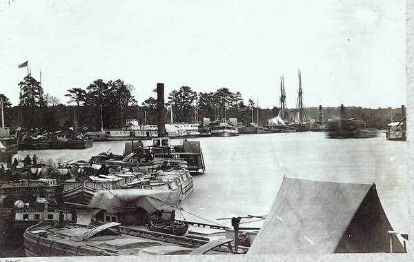 White House Landing on the Pamunkey River served as a Union staging point several times during the Civil War, including the June-July 1863 expedition to menace Richmond during the Gettysburg campaign. Shown here are the transports and supply boats used to support the Union troops.