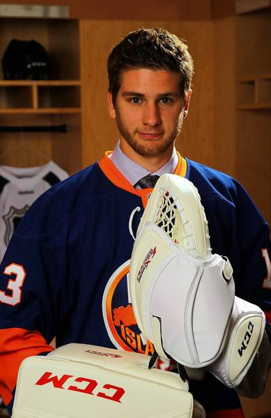 Eamon McAdam, 70th pick overall by the New York Islanders, poses for a portrait during the 2013 NHL Draft at Prudential Center on June 30, 2013 in Newark, New Jersey. (Photo by Bill Wippert/NHLI via Getty Images)