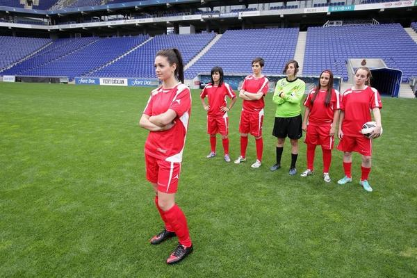 Desiree invites six of the men to the beautiful RCD Espanyol futbol stadium to practice Europe's number one sport, soccer.