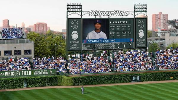 This rendering of Wrigley Field shows the proposed 6,000-square-foot video board in left field, including advertising on either side and on top, that has proven controversial with the city and Wrigleyville natives