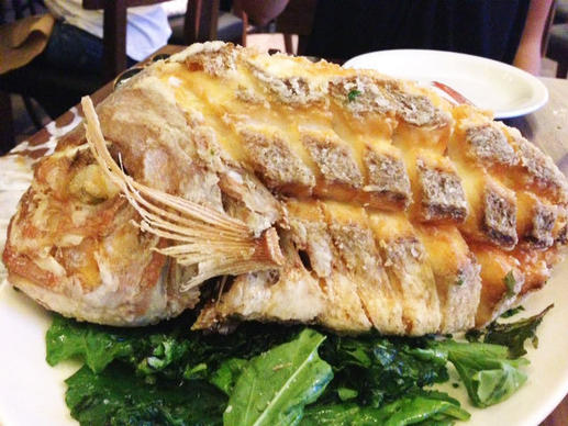 Whole fried red snapper.