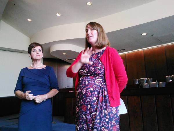 State Reps. Natalie Manley, left, and Emily McAsey hosted a town hall meeting for Bolingbrook residents last week.