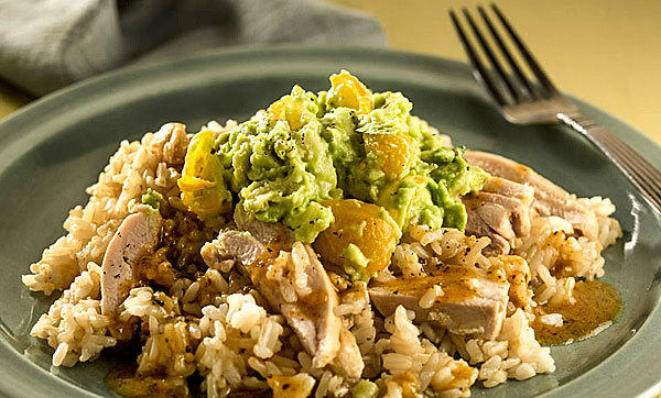 Chicken with guacamole : A rich topping of guacamole, studded with diced jicama for extra crunch, finished the dish.