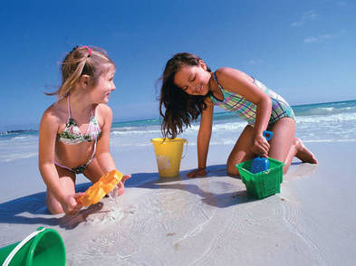 Kids enjoy the beach on Siesta Key.