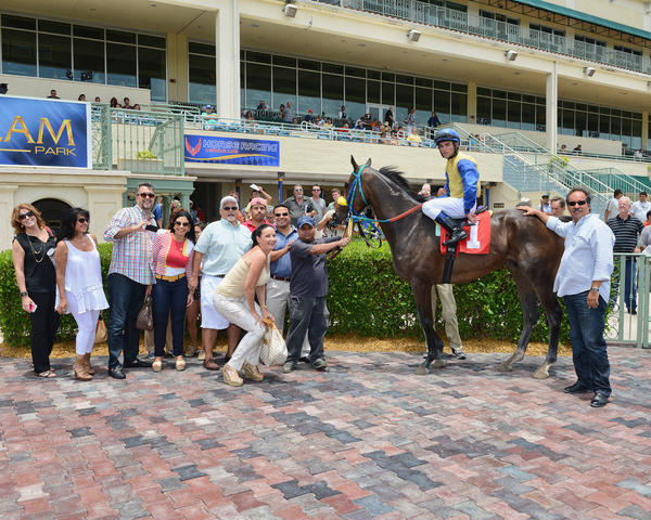 Joel Rosario aboard Tyler's Wildcat, winner of Gulfstream's first race Monday July 1.
