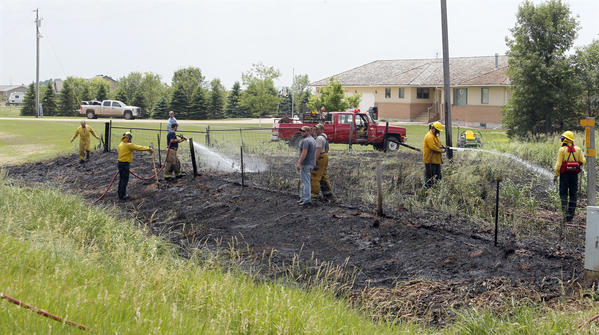 Firefighters with the Aberdeen Rural and Warner Fire Departments were called to a fire in the west ditch on Brown County 10 approximately 2 miles north of Warner Tuesday afternoon.