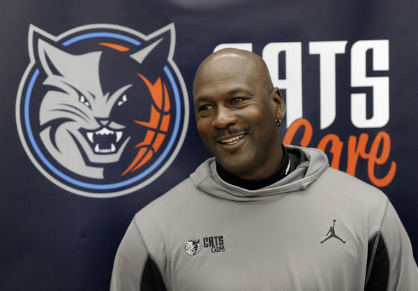 Charlotte Bobcats team owner Michael Jordan appears at a news conference at West Charlotte High School in March.