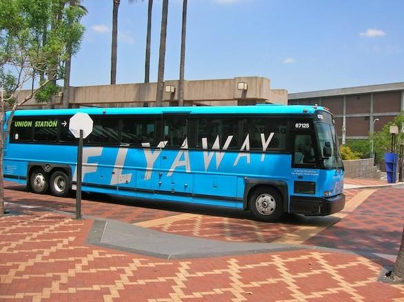 The FlyAway bus arrives at Union Station. New service from the Exposition Line started Monday.