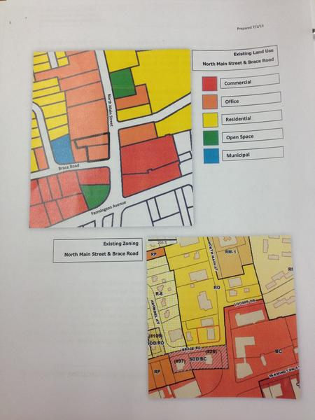 These graphics by Town Planner Todd Dumais show current land use and zoning at North Main Street and Brace Road, where the owner of 15 and 17 N. Main St. proposes to knock down two existing office buildings to build a new office building. The town plan and zoning commission recommended that the town council, which has final say, reject the proposal to change the zone from Residential Office to Central Business.   The top picture shows existing land uses surrounding the property, which is outlined in bold. The bottom pictures shows the existing zones.