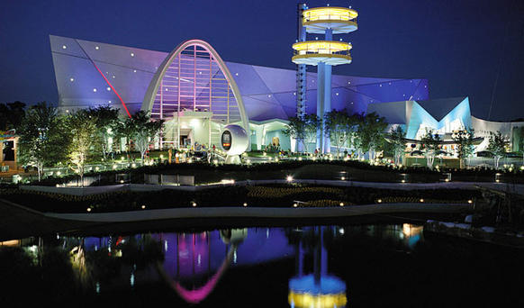 The Men in Black ride is all lit up at night at Universal Studios in Orlando.